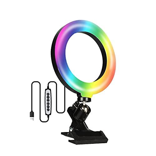 JDKC- Luz para Videoconferencia con Soporte de Abrazadera de Clip, Luz del Anillo del Ordenador Portátil, Anillo de Luz para Teléfono, para Trabajo Remoto, Aprendizaje a Distancia, 2 Piezas