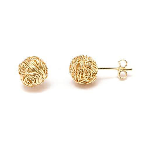 Gold Love Knot Earrings for Women & Girls | Barzel 18K Gold Plated Woven Love Knot Stud Earrings 10mm For Women - Made In Brazil (Gold)