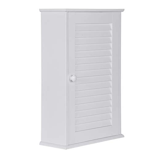 XGao Hanging Bathroom Cabinet, Kitchen Wall Storage Cabinet with Rod and Double Doors, Bathroom Wall Mounted Medicine Cabinet, Hanging Wooden Organizer Spacesaver (C)