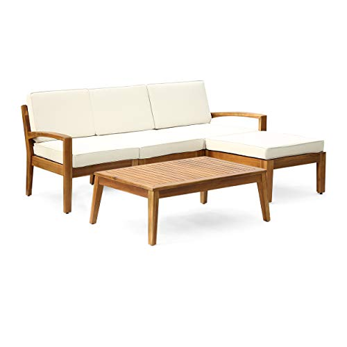 Christopher Knight Home Grenada Sectional Sofa Set | 5-Piece 3-Seater | Includes Coffee Table and Ottoman | Acacia Wood Frame | Water-Resistant Cushions | Teak and Beige, Finish