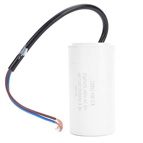 Condensador de arranque del motor, CBB60 Condensador de marcha del motor, 450V 50uF Microfarad Capacitor Cable conductor para arrancar el motor