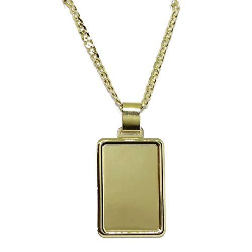 Never Say Never Placa de Oro Amarillo de 18k Lisa de 2.60 por 1.80cm con Cadena barbada de 60cm para Hombre de 2.00mm de Grosor. Total 7.25gr de Oro de 18k