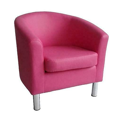 Designer Leather Tub Chair Armchair for Dining Living Room Office Reception (Pink)