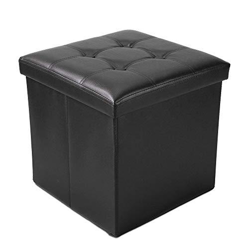 Todeco - Banc Pliant, Ottoman avec Espace de Stockage - Charge maximale: 150 kg - Matériau: Simili-cuir - Finition piquée et capitonnée, 38 x 38 x 38 cm, Noir