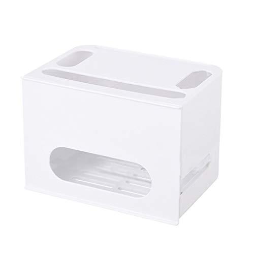 JIE KE Multi-Function Set-top Box Router Storage Box Cable Management Box Rack WIFI Storage Box Router Wall Mount Wire Organizer Creative Decorative Storage Box (Color : WHITE, Size : 29 * 21 * 20CM)