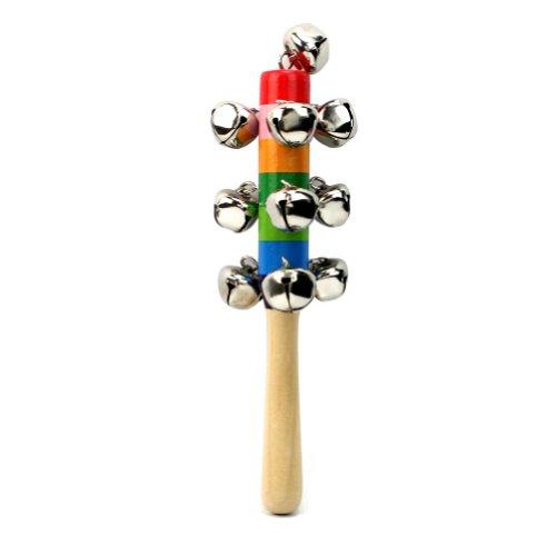 Bâton Poignée Clochette Grelot en Bois Percussion Jouet Instrument Enfant Bébé