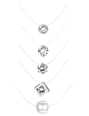 Milacolato 5Pcs Transparent Fishing Line Necklace Solitaire Dazzling Zircon Clear Pearl Choker Necklace from Milacolato