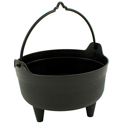Cauldron Planter Pot Large With Handle Plastic Garden Heritage 26cm 10' Black