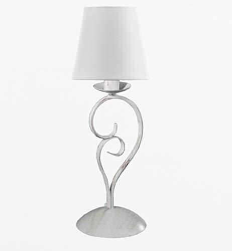 ONLI tafellamp van metaal in antieke look en lampenkap wit