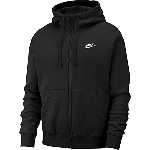 Nike Herren Hoodie Mit Durchgehendem Reißverschluss Sportswear Club Fleece, Black/Black/White, XL, BV2645-010