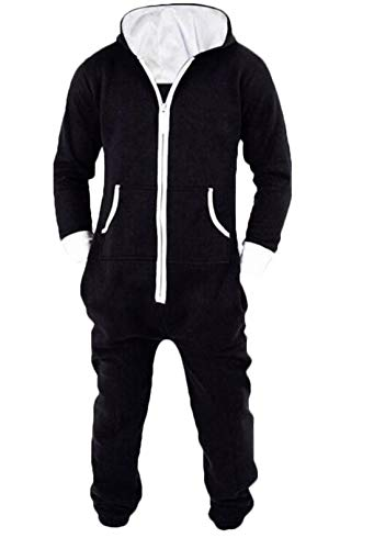 Spirio Men's Winter Sleepwear Jumpsuit 1 Piece Hoodie Zip Up Onesie Pajamas Black 4XL