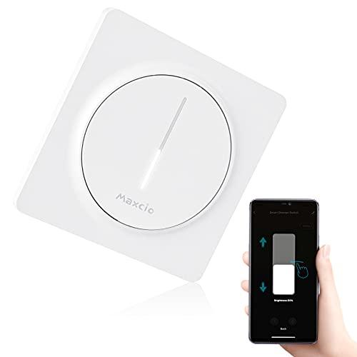 Maxcio Variateur de Lumière WiFi, Variateur d'Intensité LED Compatible avec Alexa/Google Home, Interrupteur Variateur LED Dimmable Contrôlé par L'APP, Minuterie et Partage, Besoin d'une Ligne Neutre