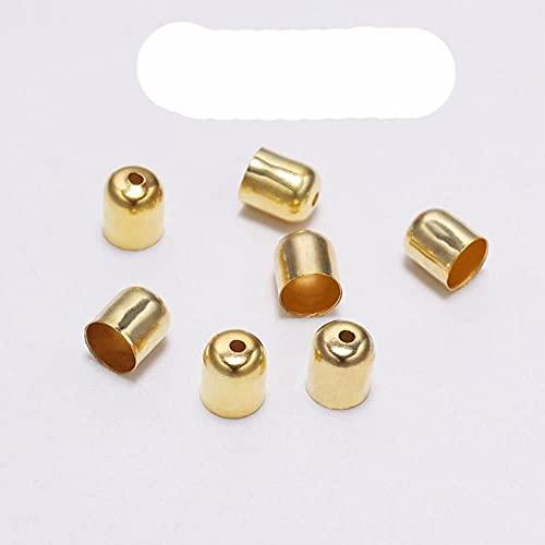 50 – 100 tapas de cuentas de cuero con hebilla para encontrar puntas finales y borlas, para hacer joyas hechas a mano, 5 x 6 mm, 100 unidades
