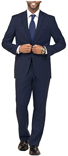 DANNY COLBY Mens 2 Piece Solid Suit Classic Fit, for Weddings Formals Business Events Regular Traditional Big and Tall 46R Navy Blue, Dark Blue