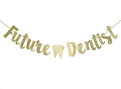 Future Dentist Glitter Gold Banner, New Dental Graduate Banner, Dental Graduation Party Decorations(Gold)
