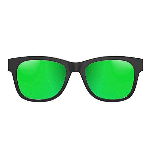 VOCALSKULL Knochenleitung Bluetooth 4.2 Sonnenbrille Drahtloser Stereo Kopfhörer Wasserdicht Wireless Polarisierte Sports Mikrofon für IOS/Android/PC Mattiert Grün(Anti-blaues Licht)