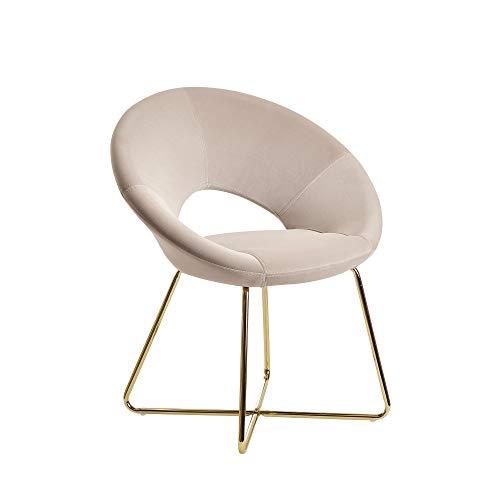 FineBuy Esszimmerstuhl Samt Beige Küchenstuhl mit goldenen Beinen | Schalenstuhl Stoff/Metall | Design Polsterstuhl | Stuhl Esszimmer Gepolstert