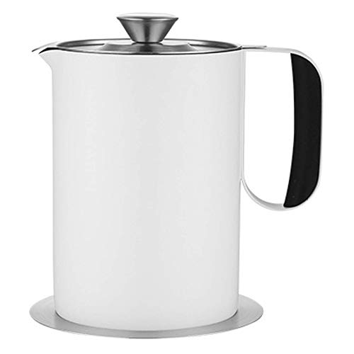 YVX Recipiente para Grasa de Tocino con colador, Separador de Grasa 2L Lata de Grasa para Cocina Recipiente para Aceite de Cocina Usado Aceite para freír Grasa, Blanco, 2L