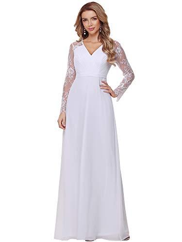 Ever-Pretty Damen Brautkleider A-Linie Elegant V-Ausschnitt Empire mit Lange Ärmel Chiffon Maxi Hochzeitskleider Große Größe Weiß 54EU