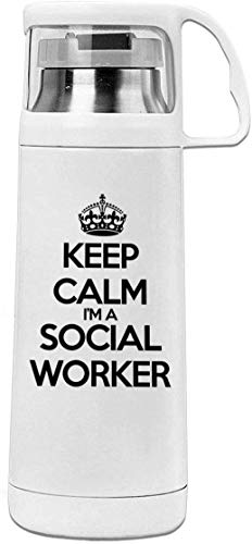 Bestqe Borraccia in Acciaio Inox,Termica Isolamento Keep Calm I'm A Social Worker 11.8oz Travel Vacuum Insulated Cover Cup Stainless Steel Thermos Cup
