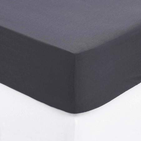 Drap Housse 100% Coton (Gris, 140x190 cm) Grand Bonnet 30 cm 57 Fils