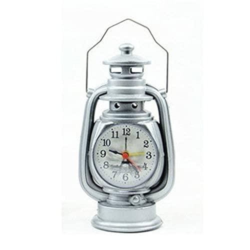 KLHDGFD Reloj despertador Vintage Lámpara de aceite retro Reloj despertador Mesa Reloj de luz de queroseno Artículos de decoración para sala de estar Adorno artesanal de oficina