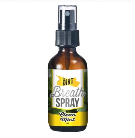 The Dirt 100% All Natural Mouth Refresher - Alcohol & Sugar-free Spray for Bad Breath with Essential MCT Coconut Oil | Portable Glass Spray Bottle - Clean Mint, 1oz