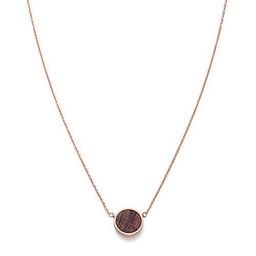 KERBHOLZ Holzschmuck – Geometrics Collection Circle Necklace Damen Halskette mit Anhänger aus Naturholz, roségold, größenverstellbar (Kettenlänge 38 + 5 cm)
