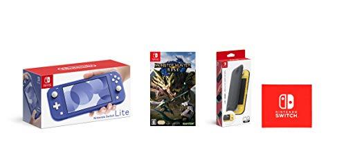 Nintendo Switch Lite ブルー+モンスターハンターライズ -Switch+【任天堂純正品】Nintendo Switch Liteフリップカバー(画面保護シート付き) (【Amazon.co.jp限定】Nintendo Switch ロゴデザイン マイクロファイバークロス 同梱)