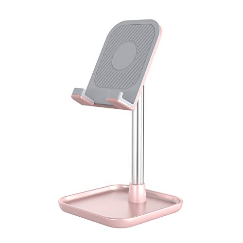 Licheers Handy Ständer, verstellbare Tisch Handy Halterung, Winkel Höhe einstellbar Aluminium Tablet Halter kompatibel mit Smartphone und weitere 4-13 Zoll Geräte (Pink)