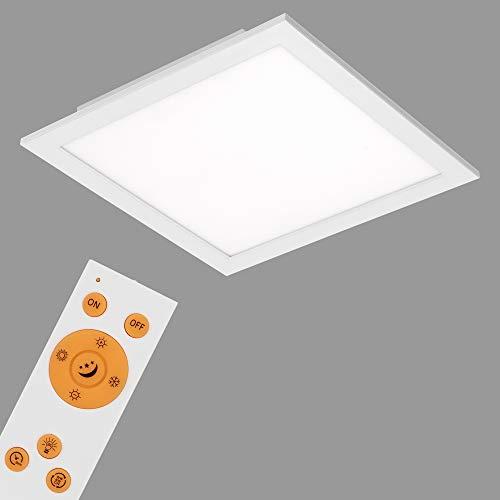 Briloner Leuchten 7194-016 Deckenleuchte-Panel, dimmbar, Farbsteuerung, Fernbedienung, 18W, 1800 lm, LED-Lampe, Wohnzimmerlampe, Deckenlampe, weiß, 29.5 cm, Metall, 18 W