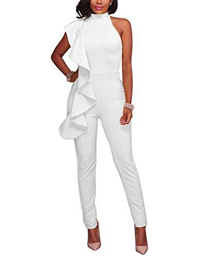 Engood Women's Sexy Ruffle Strapless High Waist Clubwear Long Wide Leg Pants Jumpsuit Rompers White L