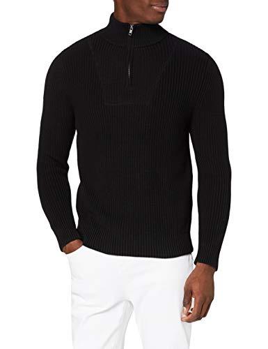Amazon-Marke: MERAKI Herren Pullover mit Reißverschluss, Schwarz (Black Black), XL, Label: XL