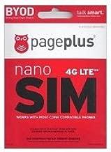 Page Plus Cellular 4g LTE Nano Sim Card Starter Kit for Verizon iPhone 5c HTC One M8 iPhone 6+