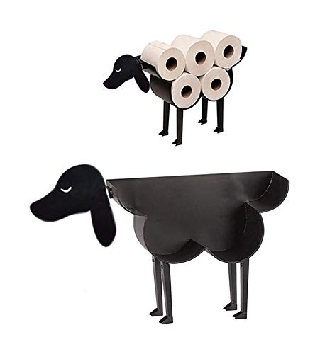 SXhyf XeinganPre - Porta Animale Black Metal WC Documento, Rotolo di Carta igienica, innovativa ovina Decorativa a Forma di/Gattino/Cane (Pecore) (Color : Chien)