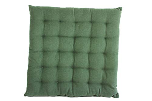 Scantex Sitzkissen Solo Uni 40x40x3cm aus 100% Baumwolle Maschinenwäsche (Leaf)