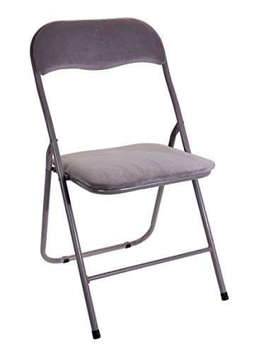 Spetebo Klappstuhl Metall mit Samtpolster - beige - Gästestuhl und Lehne - gepolsteter Beistellstuhl