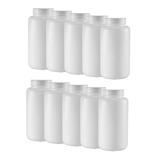 uxcell Plastic Lab Chemical Reagent Bottle 1000ml/34oz Wide Mouth Sample Sealing Liquid Storage Container 10pcs