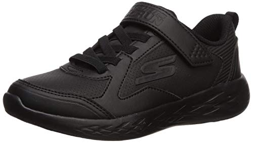 Skechers Kids Boys' GO Run 600-ZEXOR School Uniform Shoe, Black/Black/Black, 1
