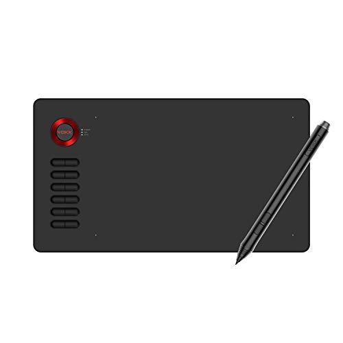 絵描きペンタブ VEIKK A15ペンタブレット(レッド) 10x6インチ 12個ショートカットキー グローブ付き PC携帯Android6.0対応可 8192レベル筆圧検知 在宅勤務 板タブ初心者に