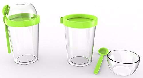 POPPARD CAPSULE - LeakProof - Refill Food Container, BPA-Free, Granola - Yoghurt To Go, Diet, Snacks Storage, Max Durability 450 ml (15.2 oz) + 100 ml (3.38 oz) (Green)