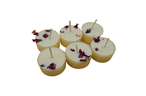 Handmade Rose and Jasmine Highly Scented Tea Light Candles 6 Pack -...