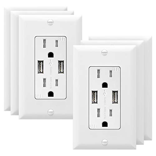 TOPGREENER 3.1A USB Wall Outlet Charger, 15A Tamper-Resistant Receptacles, Compatible with iPhone SE/11/XS/XR/X/8, Samsung Galaxy S20/S10/S9/Note, LG, HTC & More, UL Listed, TU2153A, White 6 Pack