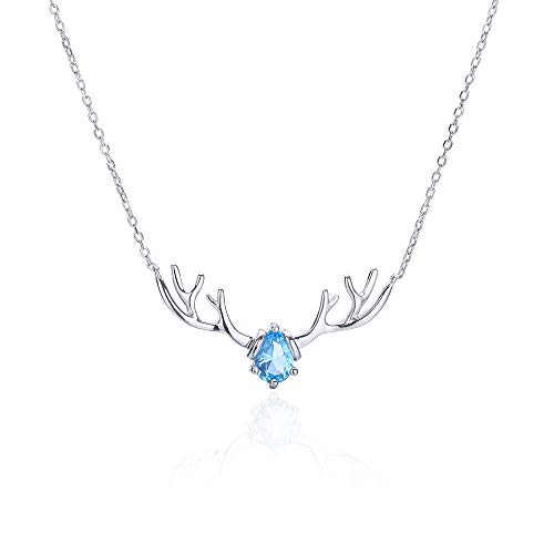 VBN Collar De Diamantes De Plata De Ley S925 One Deer Have You, Collar Simple De Cuernos De Alce