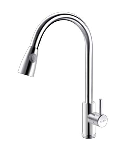 Klabb S20 Single Handle High Brushed Nickel Pull Out Kitchen Faucet,Single Level Stainless Steel Kitchen Sink Faucets with Pull Down Sprayer