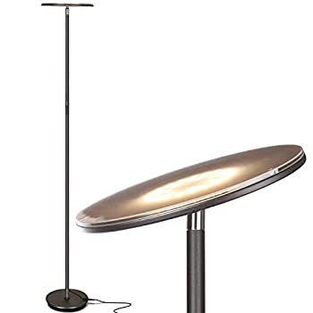 Brightech Sky LED Torchiere Super Bright Floor Lamp - Contemporary High Lumen Light for Living Rooms & Offices - Dimmable Indoor Pole Uplight for Bedroom Reading - Bronze