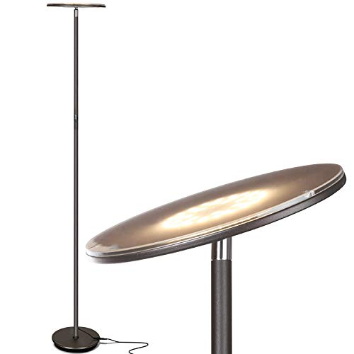 Brightech Sky LED Torchiere Super Bright Floor Lamp - Tall Standing Modern Pole Light for Living Rooms & Offices - Dimmable Uplight for Reading Books in Your Bedroom etc - Dark Bronze