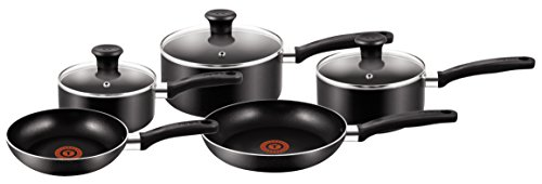 Tefal A157S546 5 Piece, Essential, Pots and Pans Set, Black, Aluminium, Non Stick