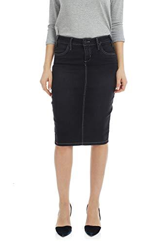 ESTEEZ Stretchy Jean Skirt Knee Length Pencil Miami Black Stonewash 14