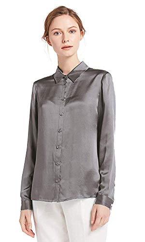 LilySilk Damenbluse Seide Langarm Hemdbluse Oberteil Shirts Damen Kentkragen von 22 Momme (XS, Silber Grau) Verpackung MEHRWEG